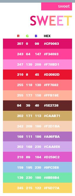 Sweet Color Schemes Combinations Palettes For Print