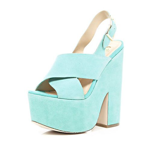 Turquoise cross strap platform sandals #riverisland