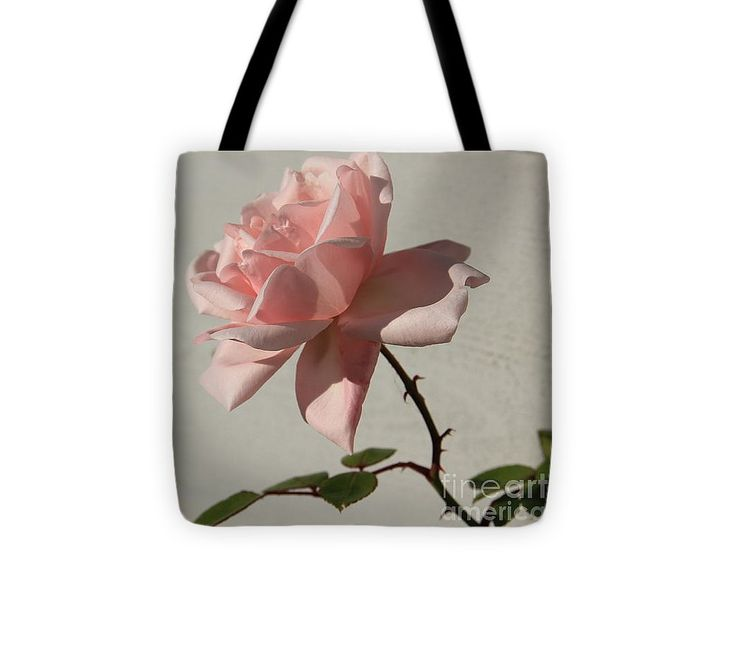 "Pink Rose On Stem Tote Bag (13"" x 13"") by Sverre Andreas Fekjan.  The tote bag is machine washable, available in three different sizes, and includes a black strap for easy carrying on your shoulder.  All totes are available for worldwide shipping and include a money-back guarantee."