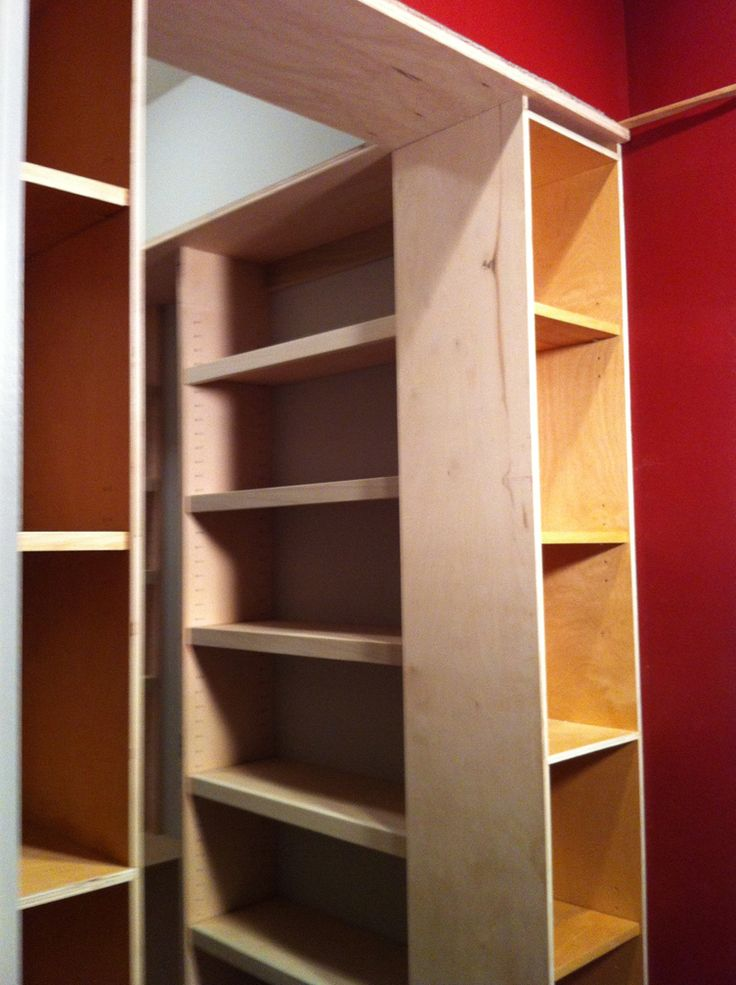 I Created Handcrafted Adjustable Shelves On All Three Sides Of The New  Pantry Room Behind The Modified Original Deep Pantry Cabinets.