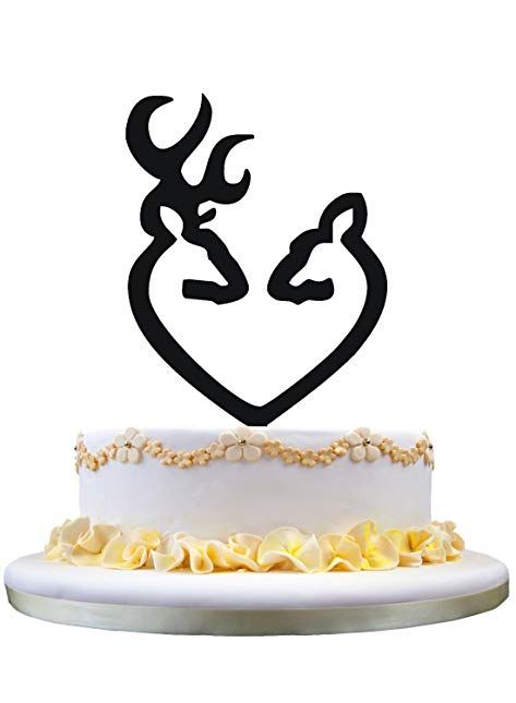 Deer Couple Heart Silhouette Wedding Cake Topper Review