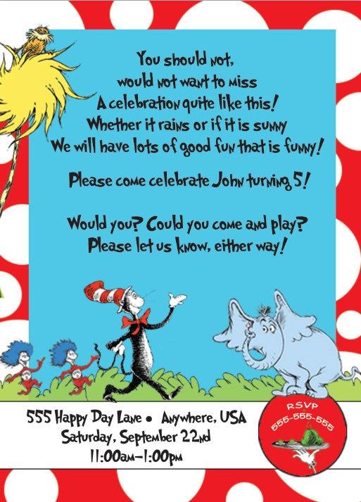 Dr. Seuss Birthday Invite.