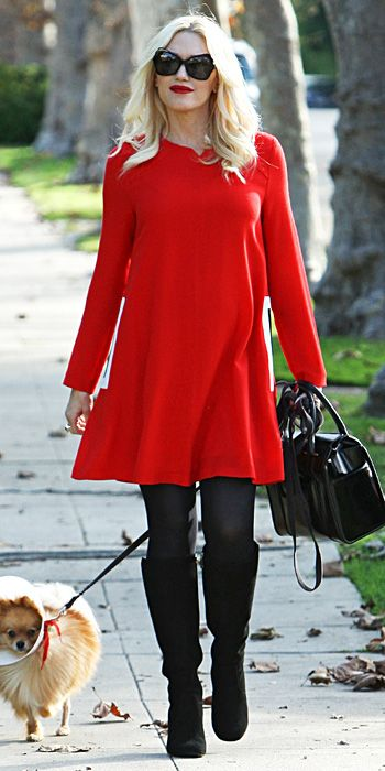 Gwen Stefani style! We love her red dress with the black tights and boots. Perfect for the holidays!