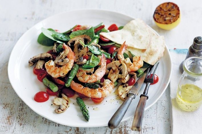 """Barbecued mushroom, asparagus and shrimp. Lemon, oil, garlic, sugar (caster sugar is just sugar), mushrooms, asparagus, shrimp, tomato, spinach. #LEAP friendly. Bet it would be good with any """"protein."""""""