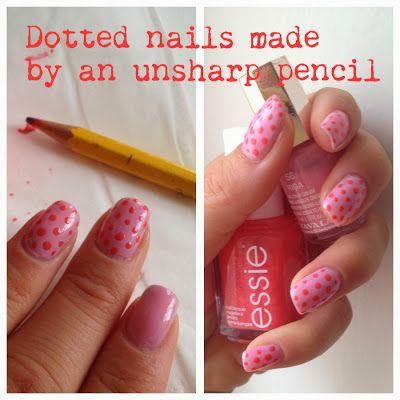 Rosa prickar på rosa naglar, gör själv med en trubbig blyertspenna. #essie #mavala
