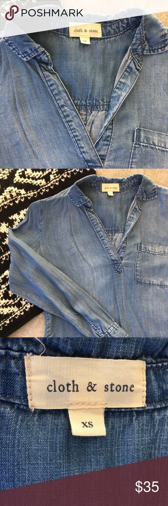 Anthropologie Cloth & Stone Chambray Shirt Lightweight, super soft Tencel and modern pullover design *Cloth & Stone brand means high quality *Style Tip: Wear over black leggings or under a heavy sweater on cold days.  *Smoke-free, pet-free home Tops