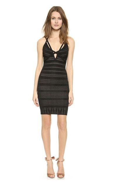 Herve Leger Strappy Black Party Dress