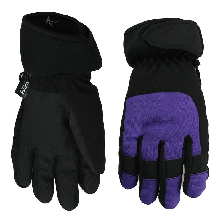 Nolan Girls Thinsulate Waterproof Colorblock Ski Gloves Purple Small-Med. Includes 1 pair of color block girls Thinsulate insulated and waterproof ski gloves. They come in size Small / Medium 4-6x and Large / XL 7-14. Color block ski gloves are available in black and pink or black and purple. Choose the color that best matches your ski jacket or winter coat. Thinsulate and waterproof girls gloves have a polyester outside with a warm and soft fleece lining for added warmth. Gloves clip...