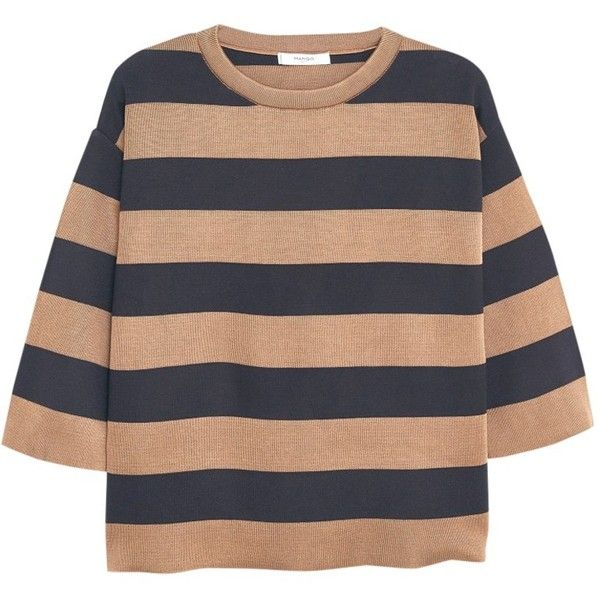 Mango Striped Cotton Sweater, Medium Brown found on Polyvore featuring tops, sweaters, stripe top, cable sweater, chunky cable knit sweater, cableknit sweater and cable knit sweater