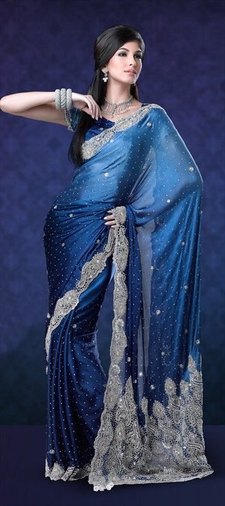 79783, Party Wear Sarees, Embroidered Sarees, Bridal Wedding Sarees, Faux Georgette, Stone, Bugle Beads, Machine Embroidery, Sequence, Blue Color Family