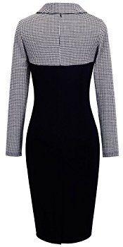 Homeyee Women's Retro Chic Colorblock Lapel Career Tunic Dress B238 (S, White)
