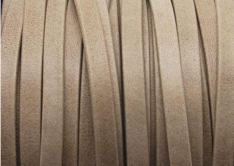 Cuir Plat 'DENVER' de 1° qualité - de 5x1,5mm - Doublé et Souple - Beige mat - Par 20cm - Cristaldesign