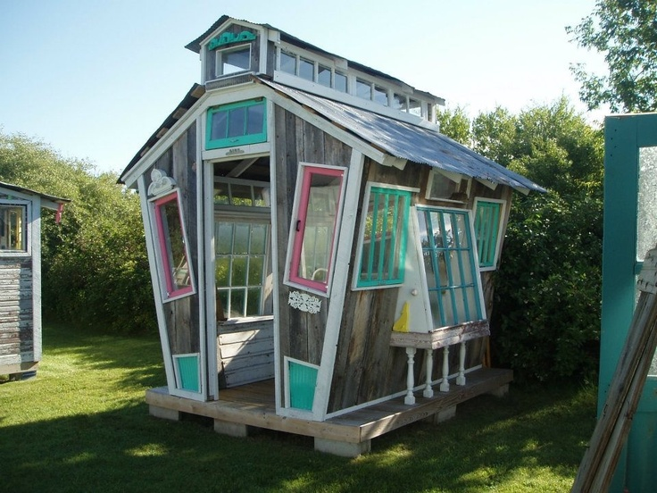 A whimsical greenhouse constructed of reuse materials, located in Frankfort, Michigan. Posted by ReUse Center of Ann Arbor.