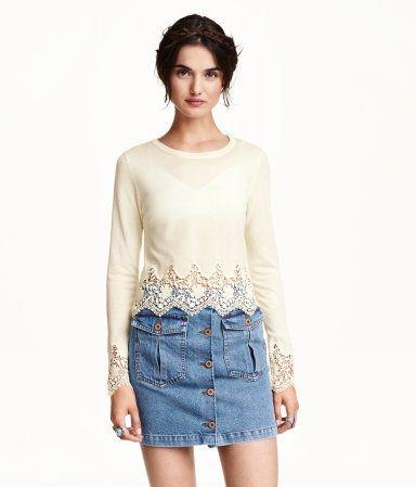 Pullover mit Spitze | H&M DE
