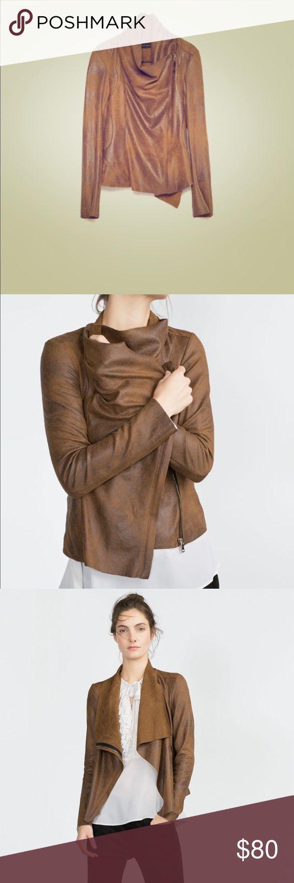 Zara brown zip up jacket Rustic brown zip up jacket, VERY stylish! Zara Jackets & Coats