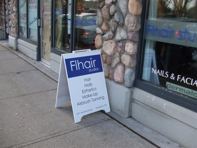 Nice simple clean sandwich board produced and installed by FASTSIGNS Vancouver www.fastsigns.com/653