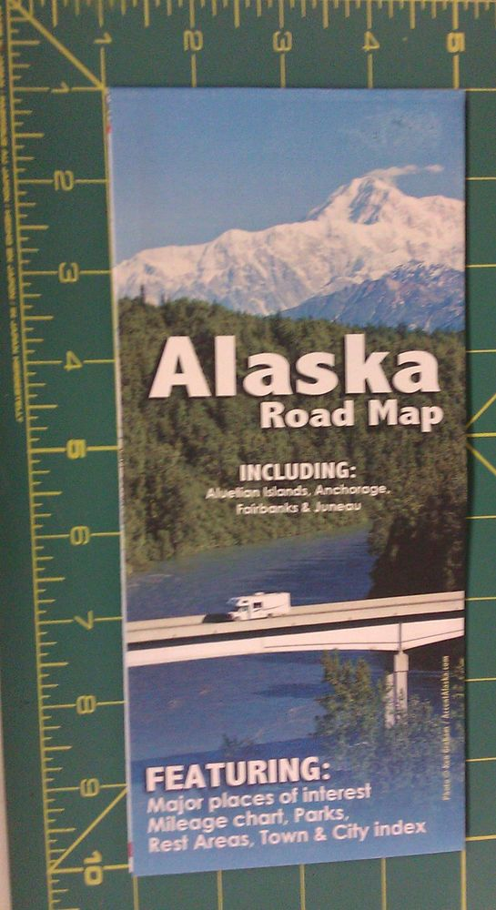 Alaska Major Cities Map%0A Alaska Road Map  Folded Alaska Map with Northwest Canada  Ships worldwide
