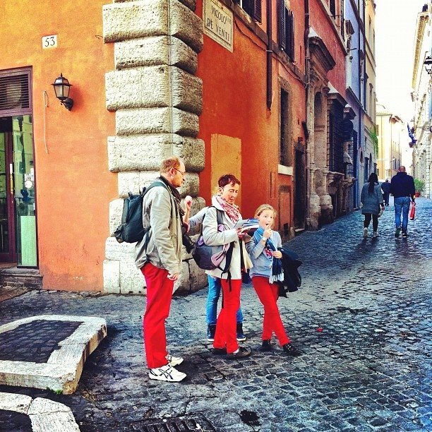 On the corner of Vicolo dei Venti and #redpants - flipside of @saverome's photo - @moscerina- #webstagram