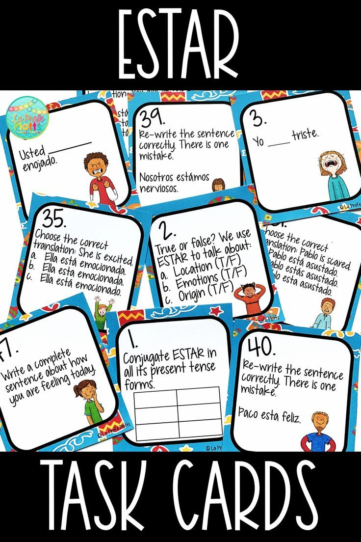 Estar Task Cards Spanish Review Activity Task Cards Verb Task Cards Review Activities [ 1104 x 736 Pixel ]
