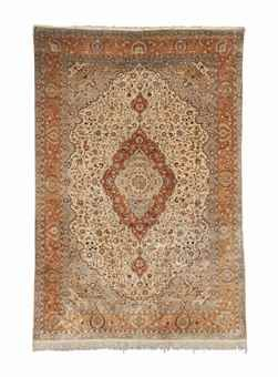 SILK AND METAL THREAD TURKISH CARPET, MODERN Approximately 12ft. 7in. x 8ft. 5in. (384cm. x 257cm.)