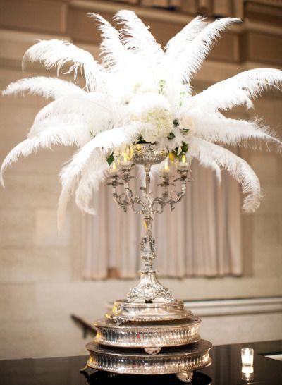 Feather decor: http://www.stylemepretty.com/california-weddings/sacramento/2014/06/18/art-deco-inspired-wedding-at-sacramento-grand-ballroom/ | Photography: Josh Gruetzmacher - http://joshgruetzmacher.com/
