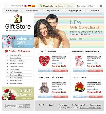 Gifts Presents osCommerce Templates by Delta