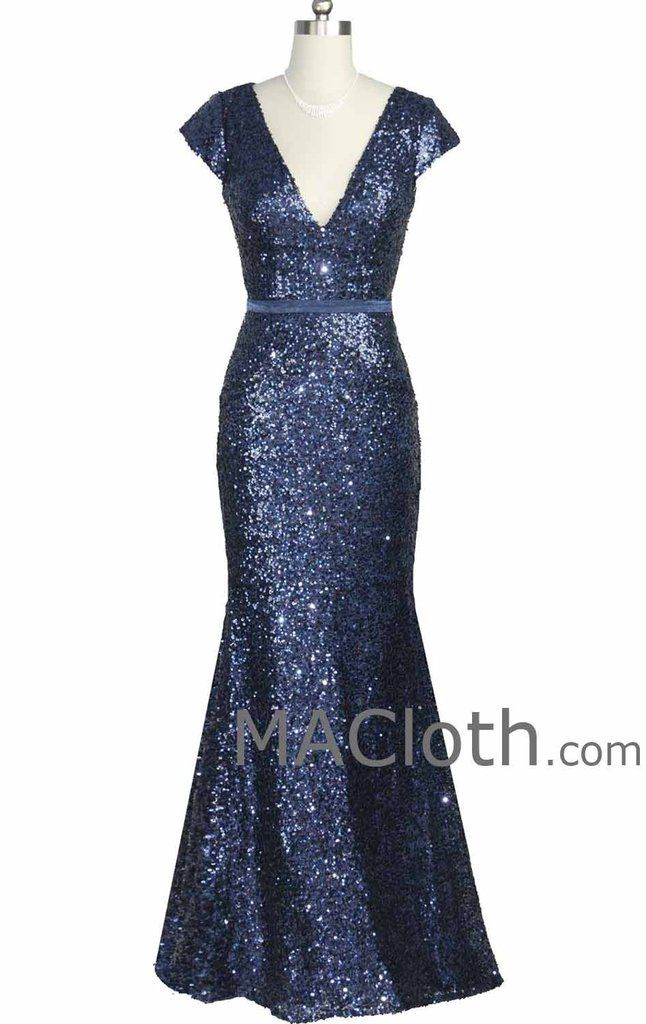 Mermaid Cap Sleeves V Neck Long Sequin Dark Navy Evening Gown Formal D – MACloth