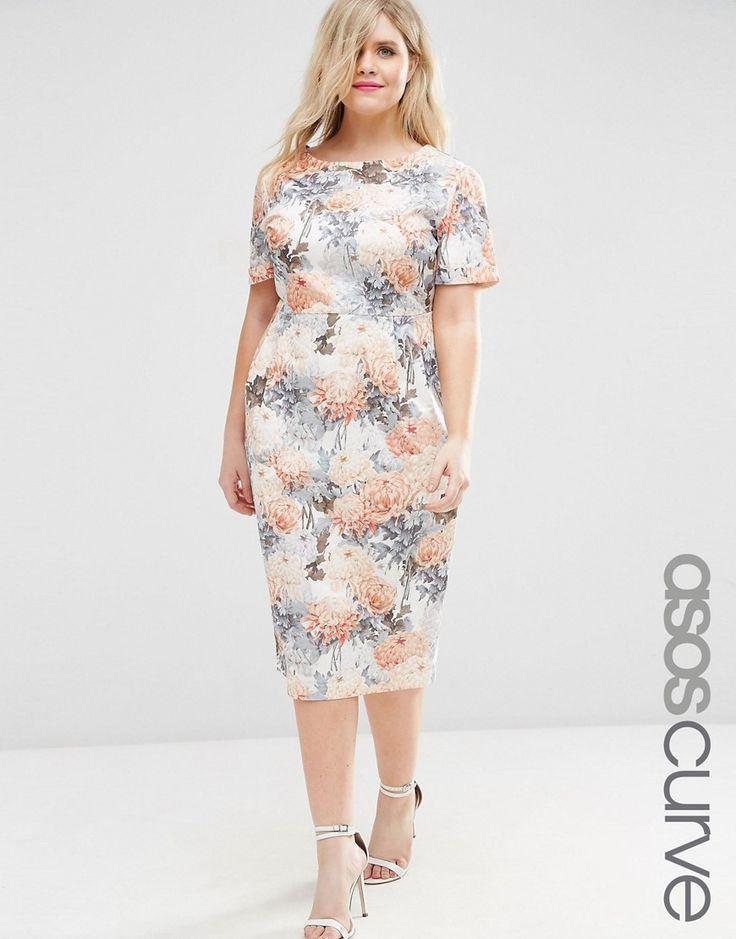 ASOS+CURVE+Occasion+Floral+Wiggle+Dress