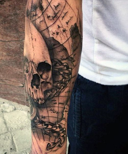 Map Tattoo Ideas 50 World Map Tattoo Designs For Men   Adventure The Globe | Tattoo