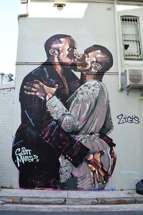 Scott Marsh painted a giant mural of Kanye making out with his favourite person (himself).