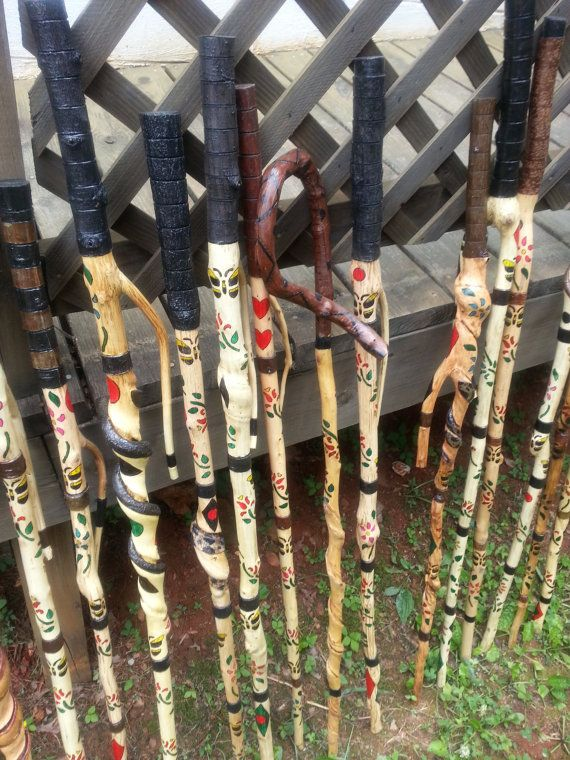 My elderly cousin, after being unable to work, starting walking the woods and started carving these walking sticks and canes. He has created such