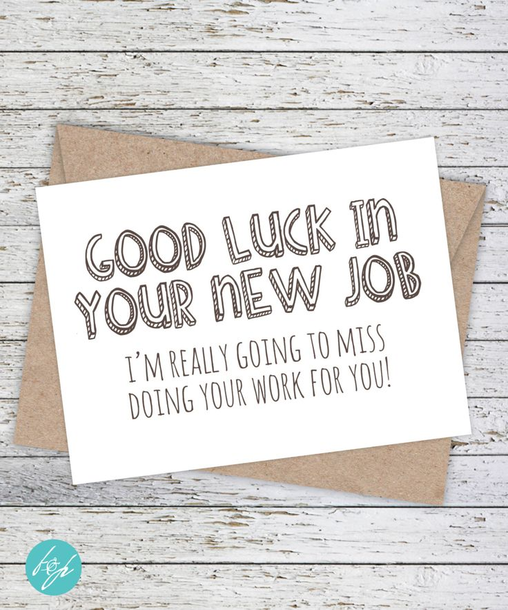 Coworker Card, Congratulations, Good Luck Card, Funny ...