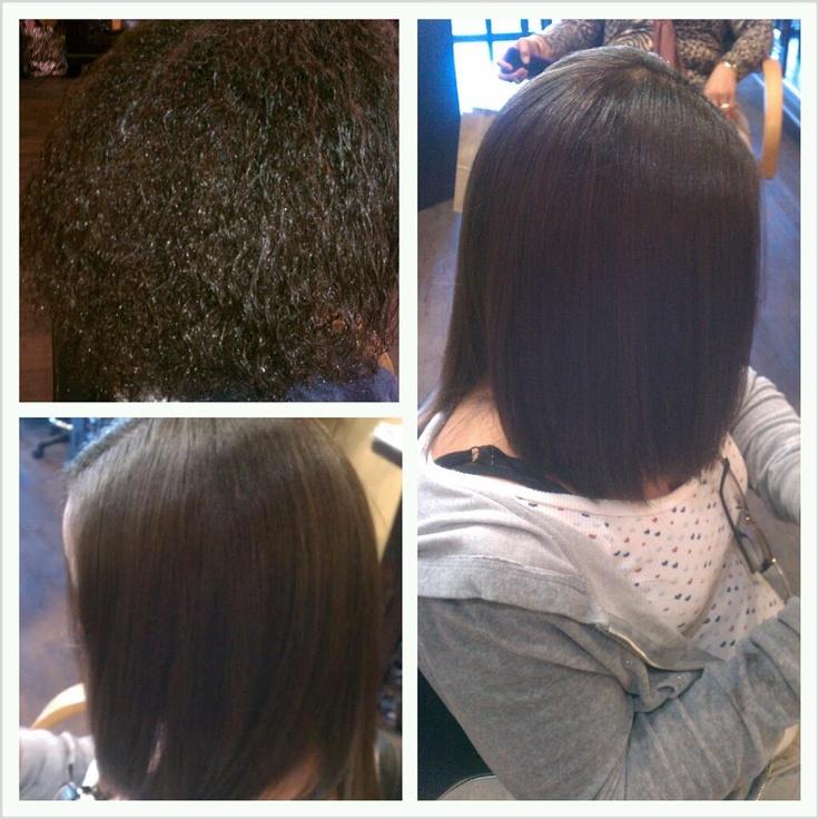 before & after, natural hair, silk press