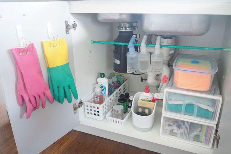 So organisieren Sie unter dem Spülbecken-Schrank #organisieren #schrank #spulbecken #unter