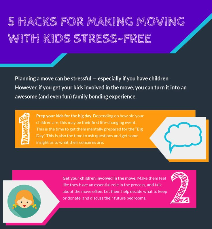 Moving with kids can be S-T-R-E-S-S FULL! Check out these five tips to reduce the stress and make moving easy peasy. #moving #kids #family #movingwithkids #houston #movers #infographic #movingtips