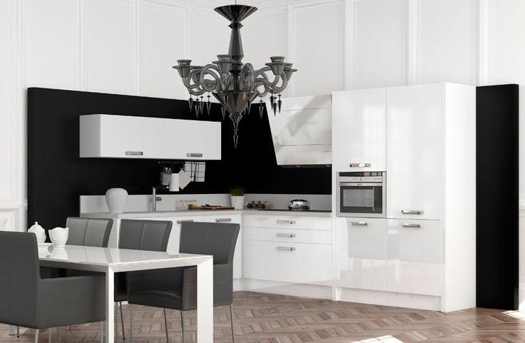 Blanc et noir, tranchant et stylé.   Nos cuisines   Pinterest