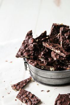 ... dark chocolate pumpkin seed bark ...