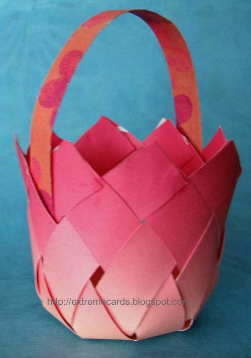Woven paper basket - pdf file to print and cut out.