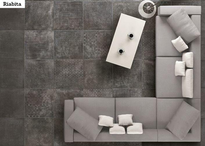 Riabita -sarjan kuviolaatoilla laatoitat vaikka maton. Kuvassa ICI Raibita Industrial ja ICI Riabita Industrian Fabric 40x40 cm.