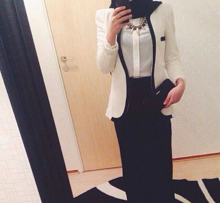 Elegant Black White Hijab Outfit On We Heart It