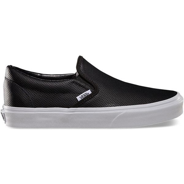 Perf Leather Slip-On ($60) ❤ liked on Polyvore featuring shoes, sneakers, vans, sapatos, slip-ons, black, leather slip on shoes, leather sneakers, vans sneakers and black leather sneakers