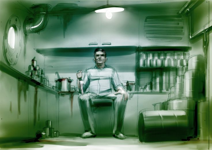 A very early piece of Fitzroy concept art of Cecil in the galley.