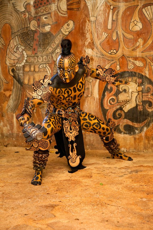 Mayan Dancer Representing  Ek Balam, Jaguar, the Warrior.  Xcaret, Riviera Maya, Yucatan, Mexico.