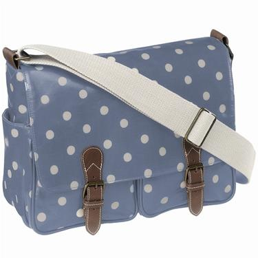Cath Kidston messenger bag, blue with white polka dots