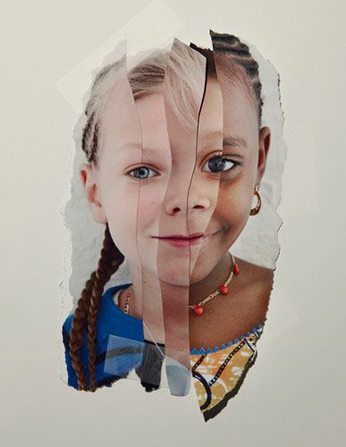 Identity portraits that are torn together by John Clang