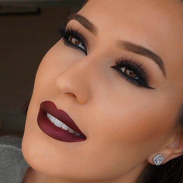 """#Repost from the beautiful @vjosamua in @blinkingbeaute Lashes in No.2 SAD GIRL @anastasiabeverlyhills liquid lipstick  Love this color! …"""