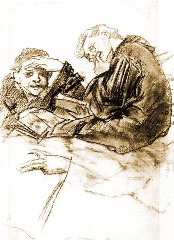 Stanisław Wyspiański, Józef Mehoffer - dual portrait, 1891