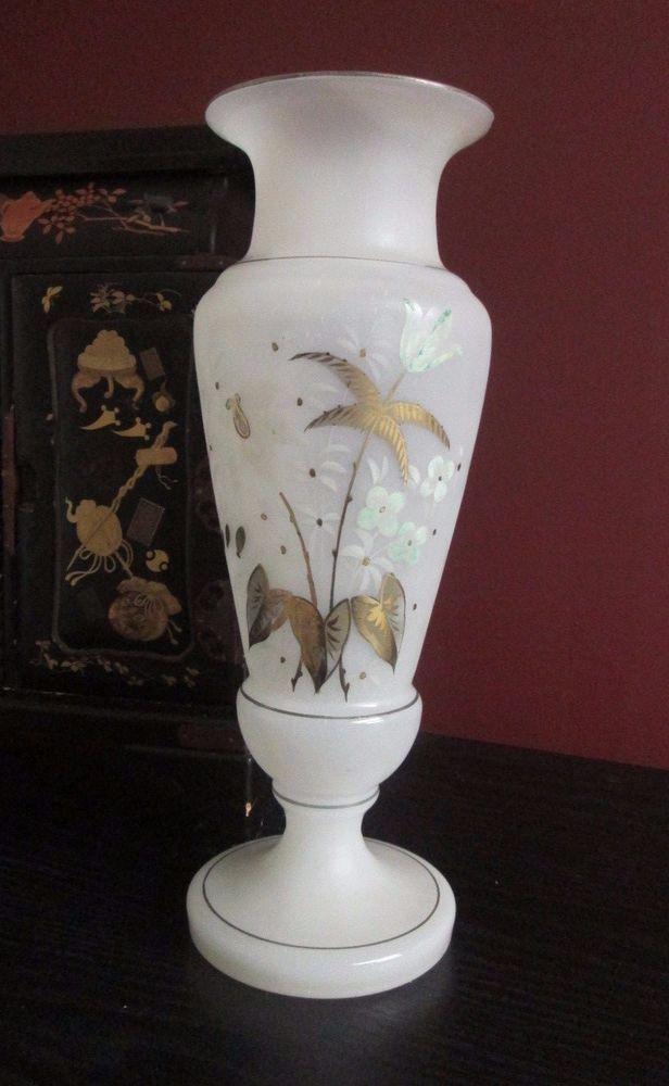 """Victorian Antique WHITE OPALINE BRISTOL GLASS VASE  w FLORALS & FERN 12.5"""" 1800s #Victorian #Unknown"""