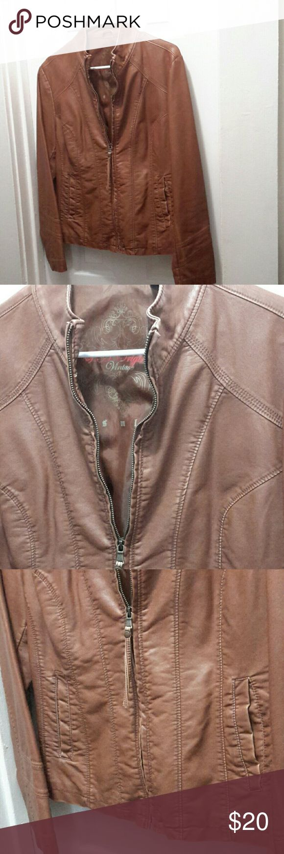 Price cut, New, Faux leather cool jacket. New, Faux leather cool jacket., has that worn look to it, that's how they are. It's a golden tan in gold, like honey oak. Jackets & Coats Utility Jackets