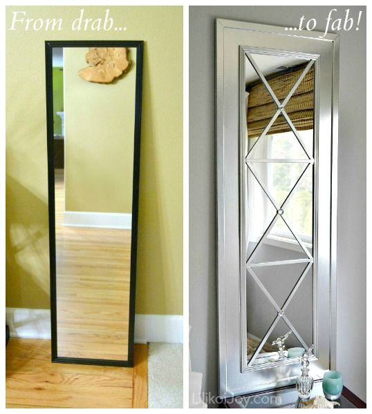 Turn a low value door mirror into a masterpiece using a sheet of mdf, door trim for the frame and doweling/strips for the criss cross Read the full post here..